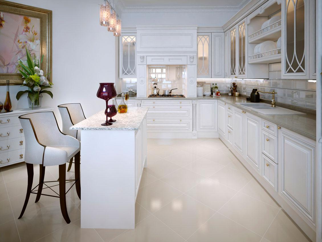 Luksusowe białe, drewniane meble kuchenne na wymiar - biała kuchnia dębowa.