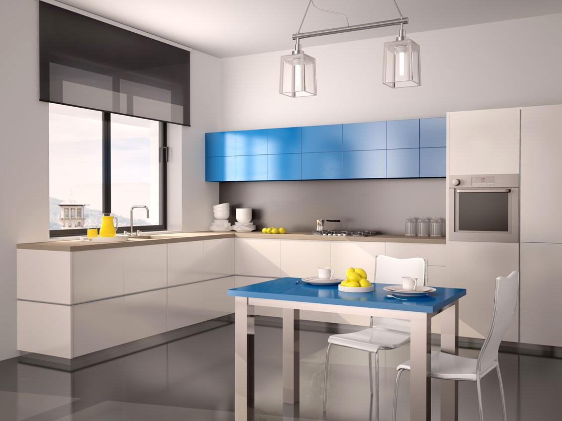 Biało - niebieskie nowoczesne meble kuchenne do zabudowy