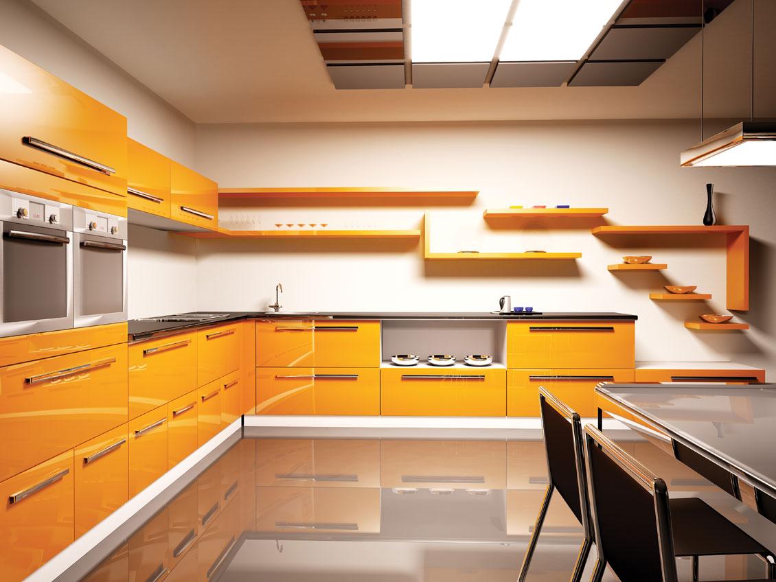Żółte meble kuchenne na wymiar